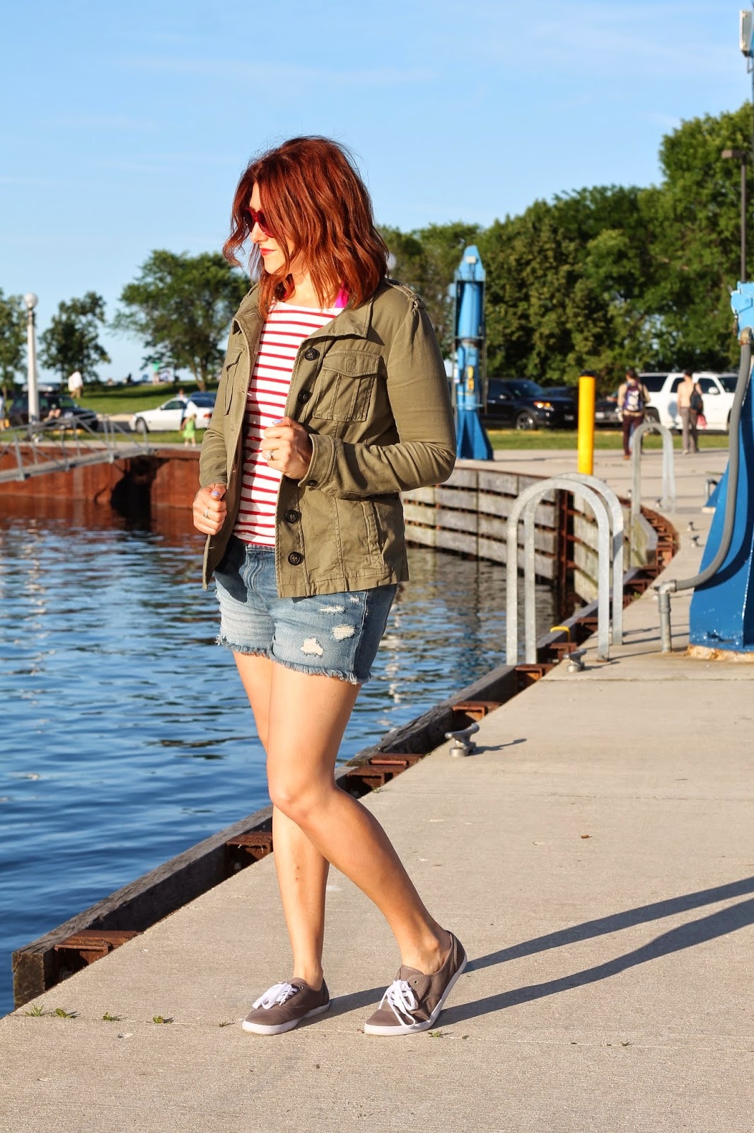 army, jacket, stripes, jean,shorts
