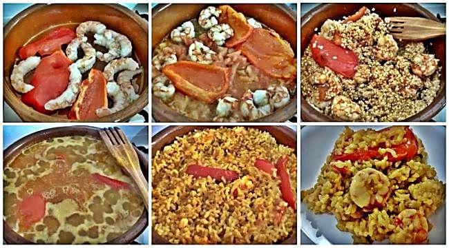 Preparación del arroz con pimiento rojo