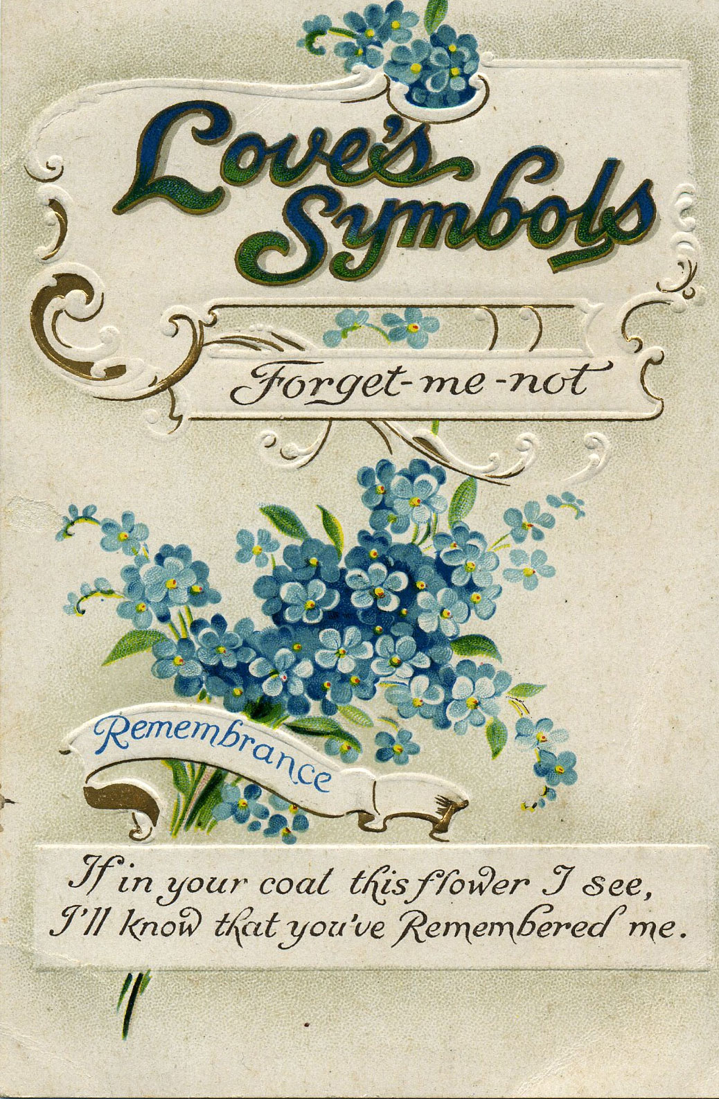 In love and remembrance the forget me not seeing symbols if in your coal this flower i see or is it coat despite having spent some time comparing the different spellings of t and l in the wording of the buycottarizona