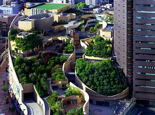 Japan's Namba Parks Has an 8 Level Roof Garden with Waterfalls ...