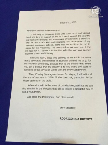 Davao Mayor Rodrigo Duterte's Final Decision (Letter for Supporters)