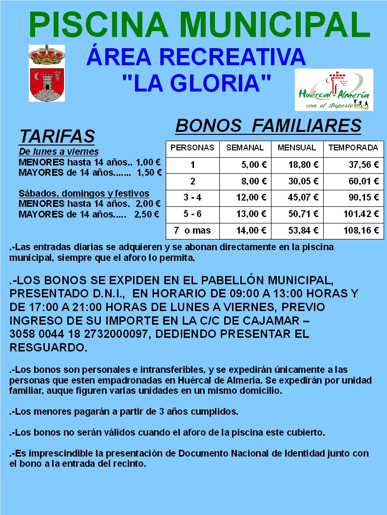 Temporada piscina prensa ayuntamiento de hu rcal de almer a for Piscina municipal almeria