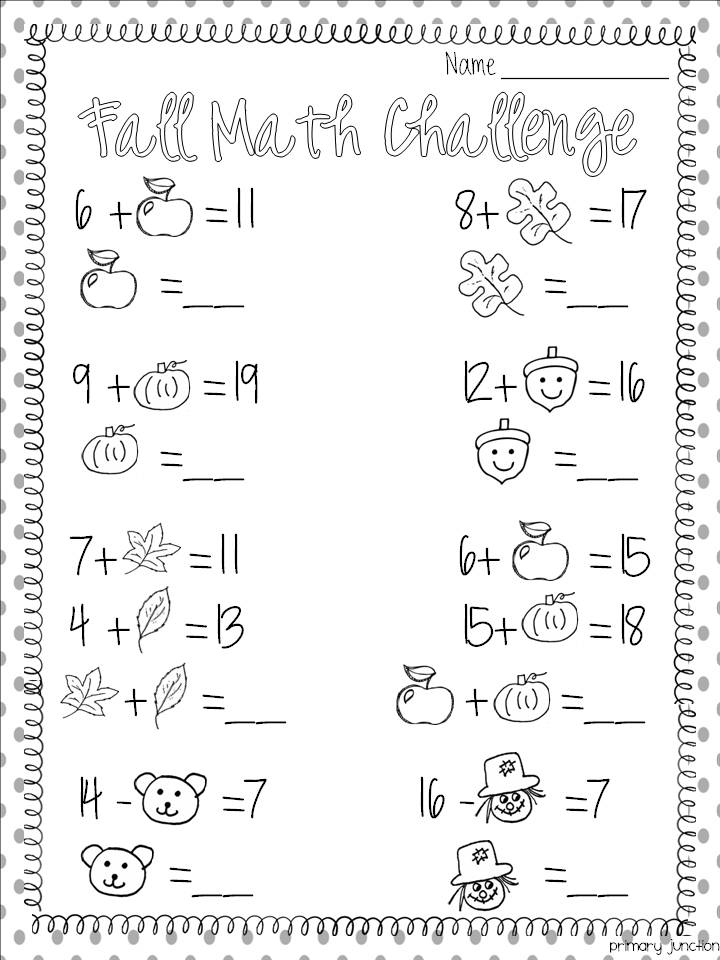 Fall Worksheets For First Grade Davezan – Thanksgiving Math Worksheets First Grade