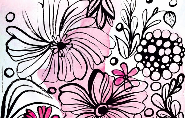 ink and flowers desktop wallpaper hand drawn by papersquid.com