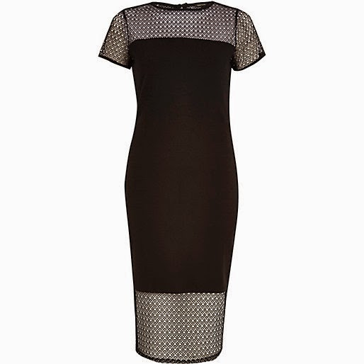 river island mesh panel dress, black mesh panel dress, black mesh midi dress,
