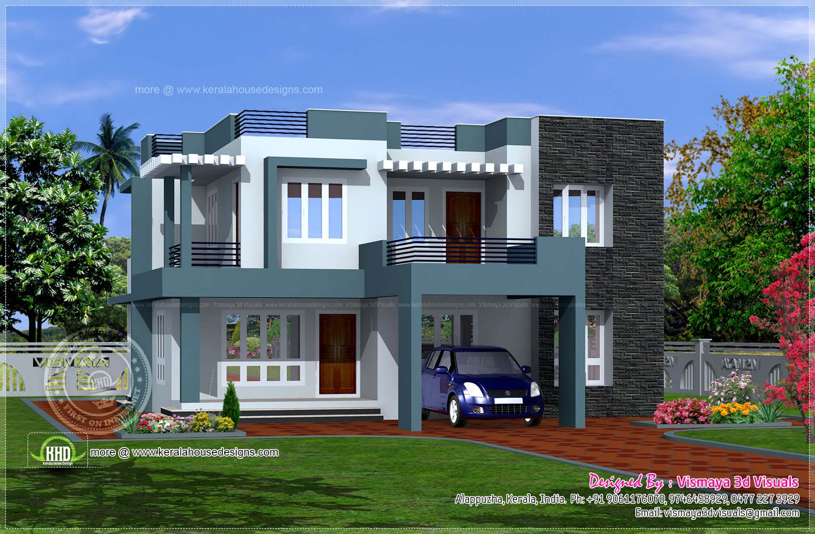 Simple contemporary style villa plan home kerala plans for Simple house elevation models