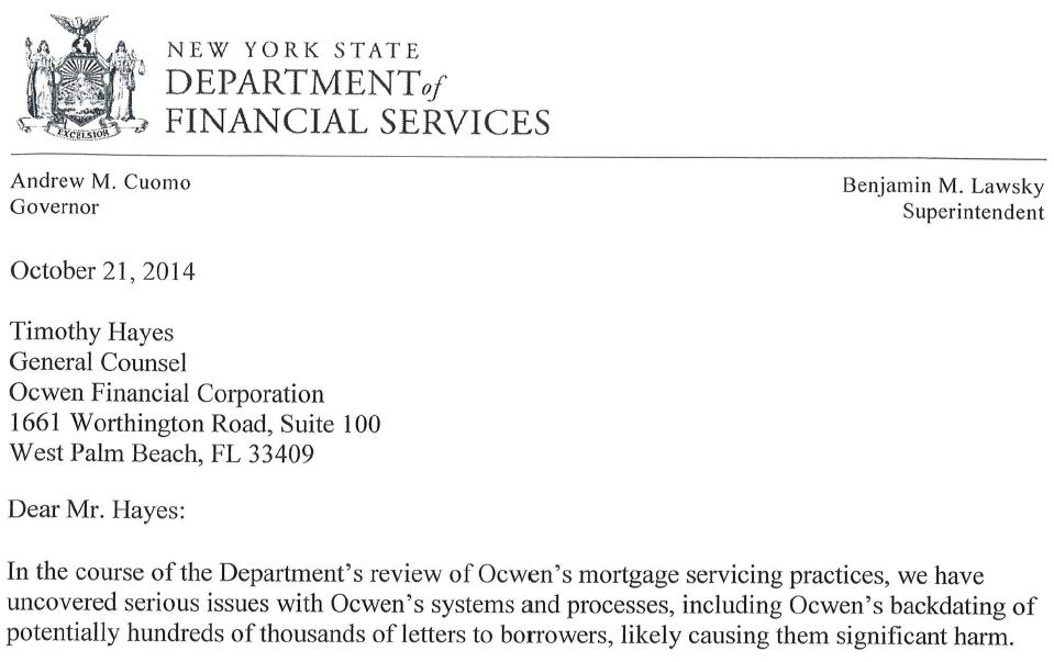 Expected Loss Ocwen Letter Spooks The Market