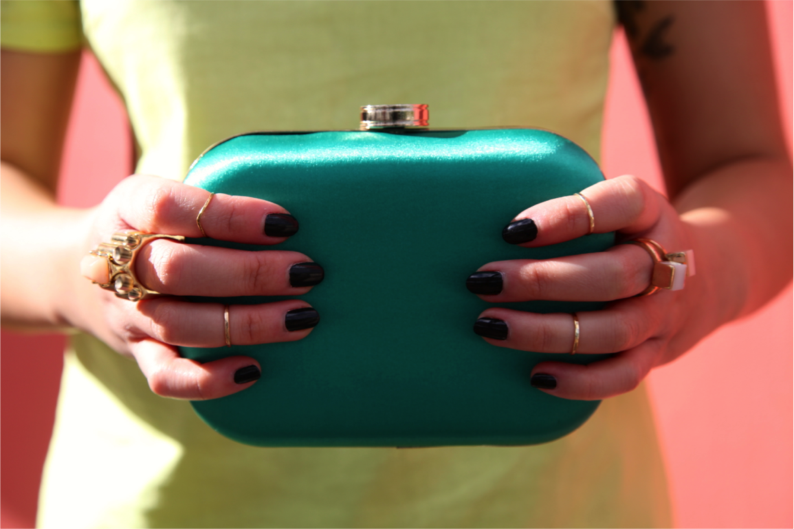 gold knuckle rings from etsy and green satin box clutch on epique