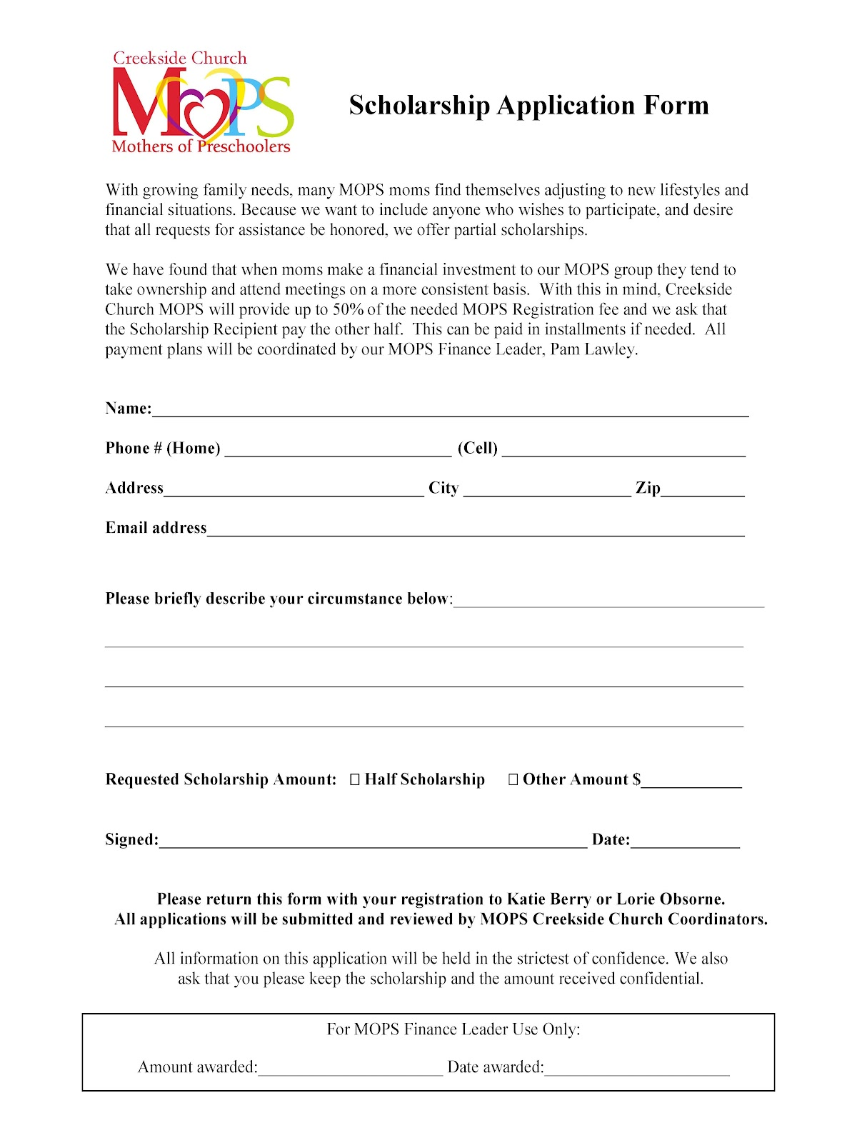 how to create a scholarship application template
