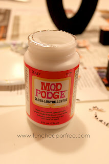 Mod Podge on a table, from Fun Cheap or Free