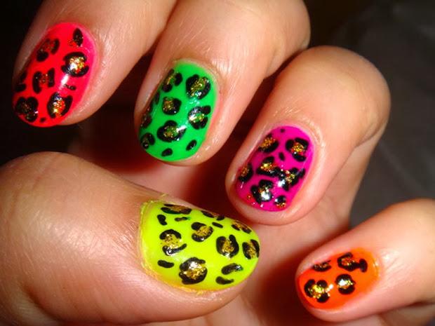 zebra and cheetah nail design
