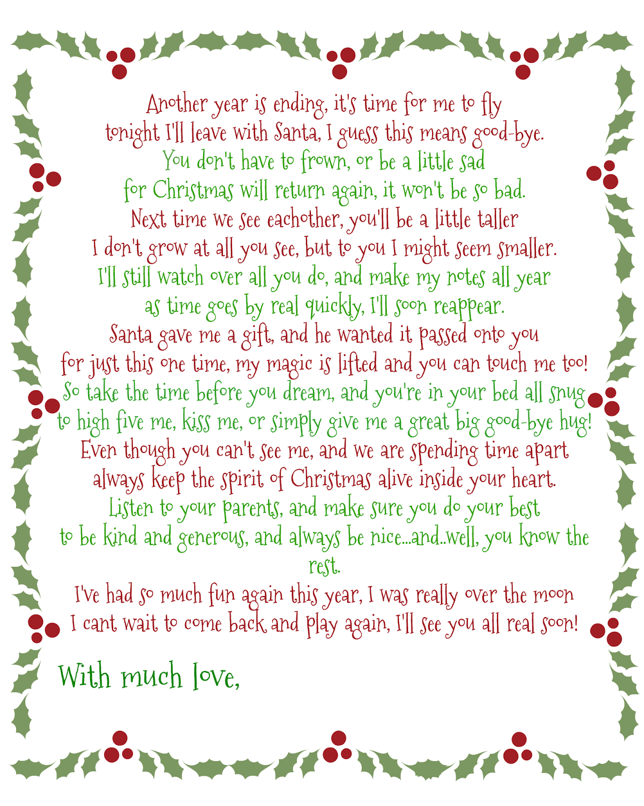 Its A Moms World Elf on the Shelf GoodBye Poem