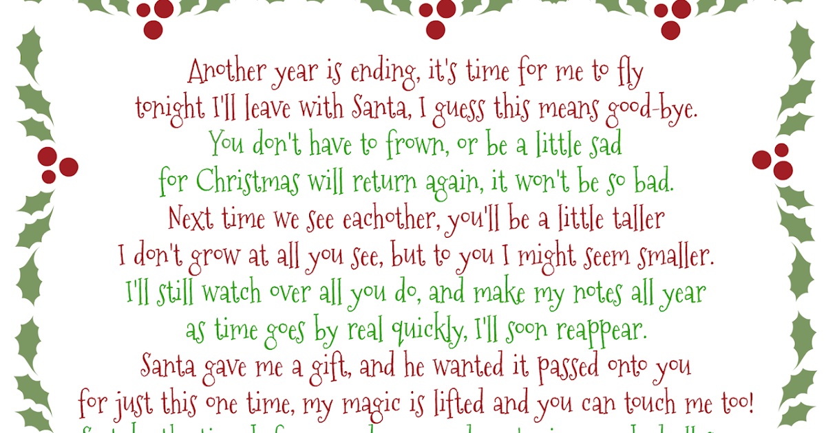 Its A Moms World Elf on the Shelf GoodBye Poem