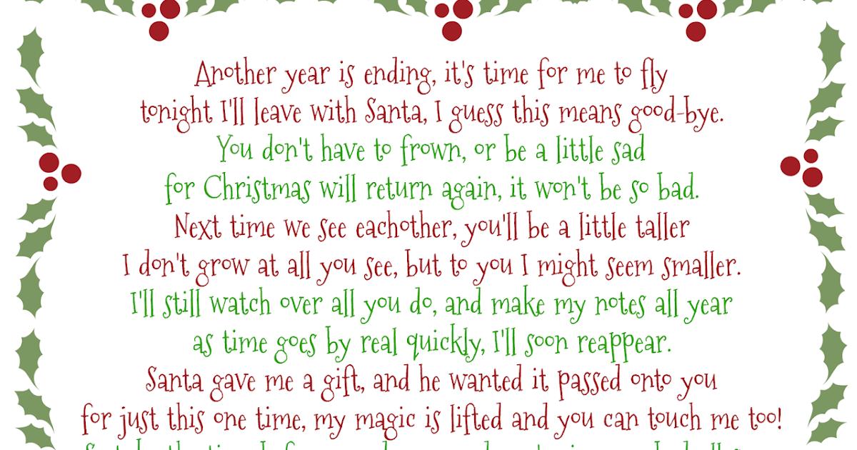 It's A Mom's World: Elf on the Shelf Good-Bye Poem