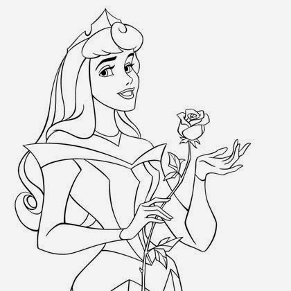 Coloriage princesse aurore et la rose coloriage - Dessiner princesse disney ...