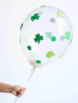 Add shamrock stickers to balloons!