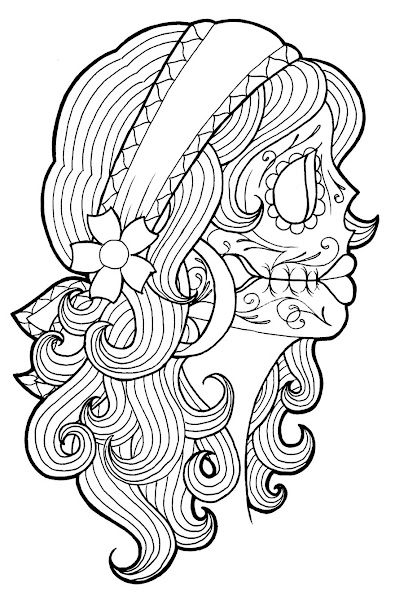girl skull coloring pages - coloring page sugar skull girl tattoo