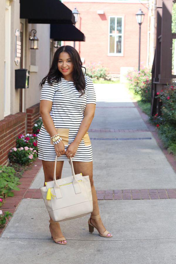 Striped Dress & Leather Pockets