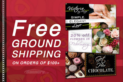 Free Ground Shipping on orders of $100 through 1/29/16 at Banners.com
