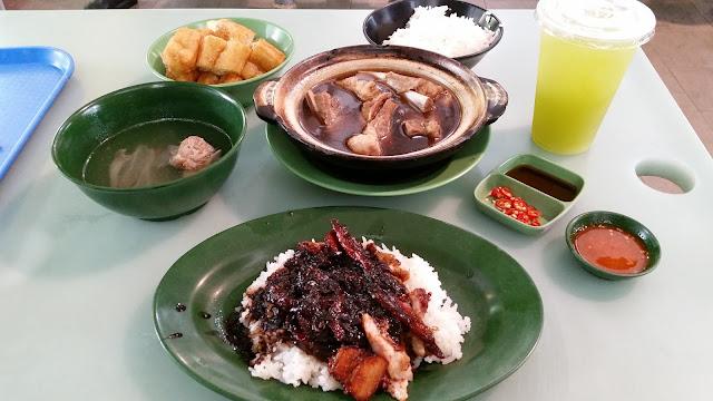 bak ku teh roast meat rice and sugarcane juice