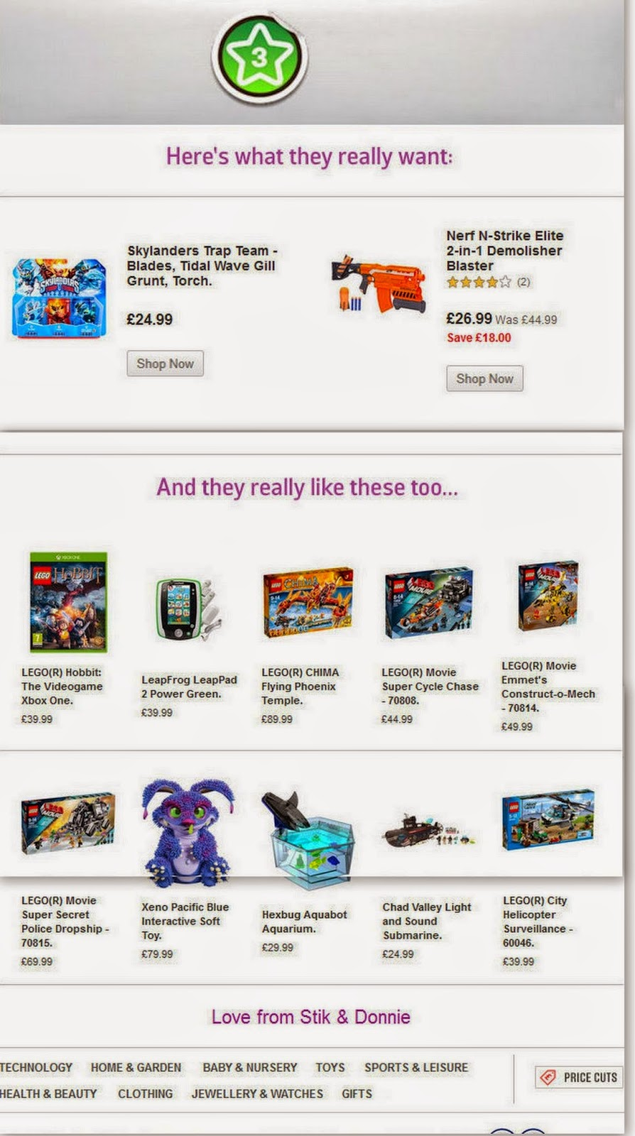 Argos Christmas wishlist app. review email to parent