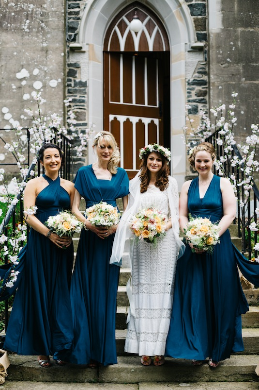Edwardian lace wedding dress on vintage bride Ruth, with bridesmaids