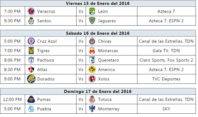 ... trasmisiones del futbol mexicano para la jornada 2 del clausura 2016