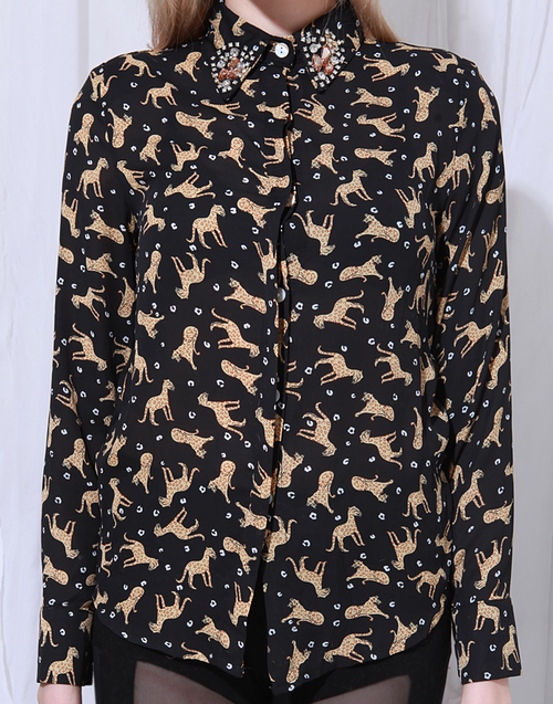 Studded Collar Cheetah Print Shirt