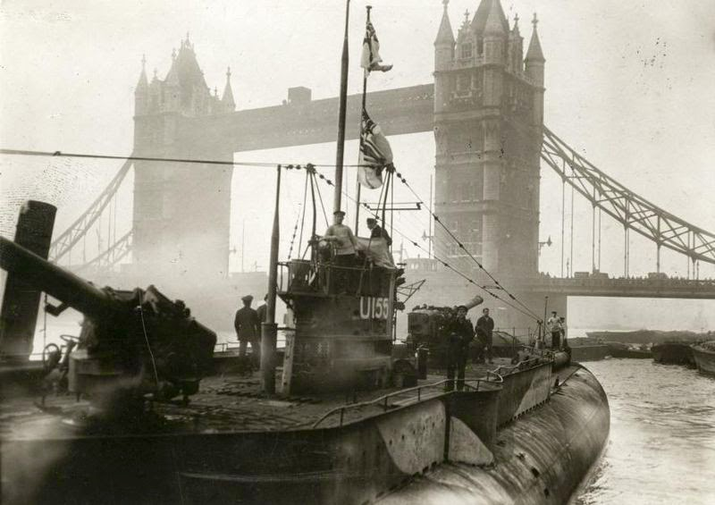 U-155 exhibited near Tower Bridge in London