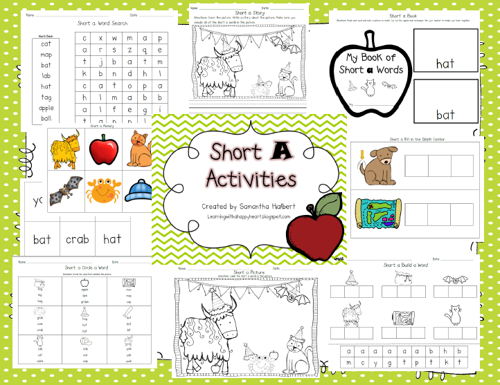 Learning with a Happy Heart: Short A and Short E Activities