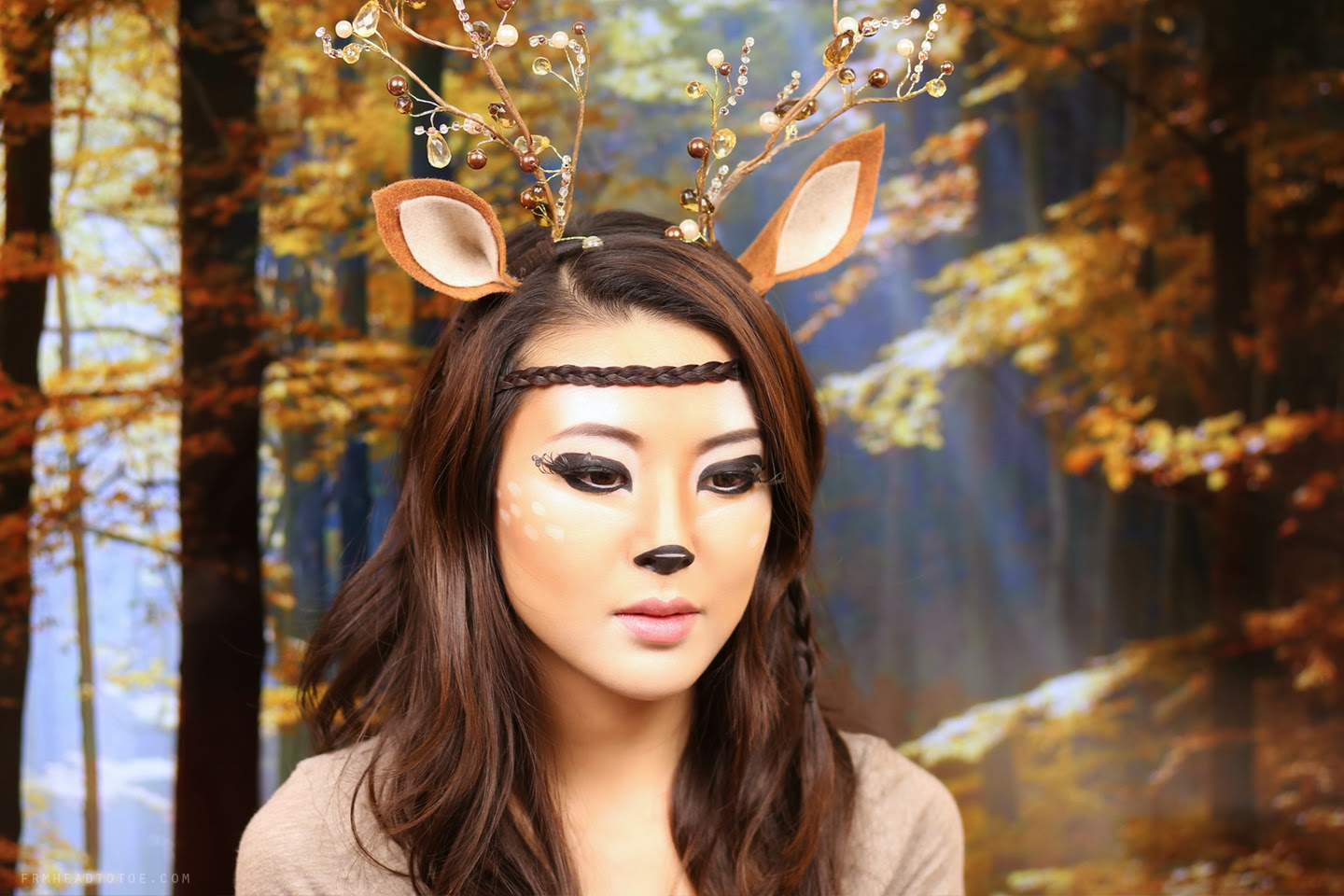 I then used felt to create the ears. I braided a few strands of hair as well and used it to create a faux headband which seemed appropriately natural-boho ...  sc 1 st  From Head To Toe & Deer Makeup Tutorial | Halloween 2013 - From Head To Toe