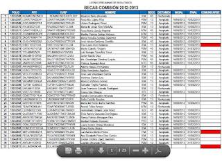LEÓN : Listado preeliminar de resultados BECA COMISIÓN 2012-2013