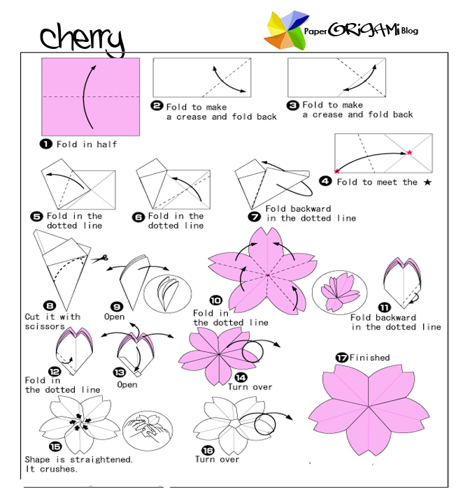 Flower origami cherry flower paper origami guide flower origami cherry flower mightylinksfo Images