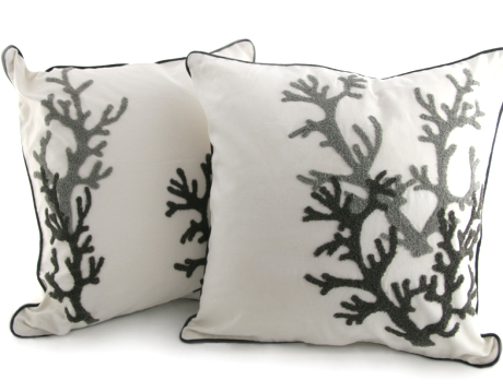 black and white coral pillows