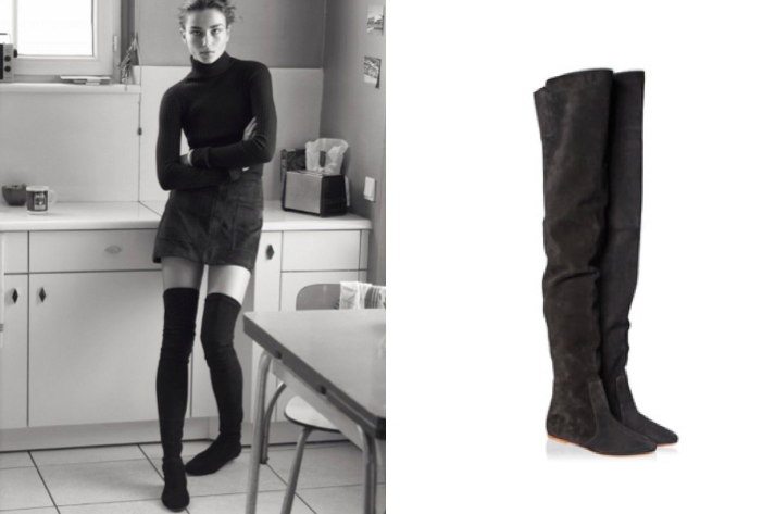 Etoile Isabel Marant Black Suede Thigh Boots