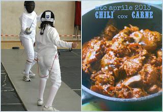 chili con carne, cipolle e tortillas alla farina di ceci per l'mtc