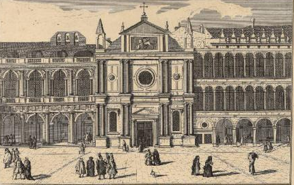 The church of San Geminiano in an engraving by Luca Carlevarijs