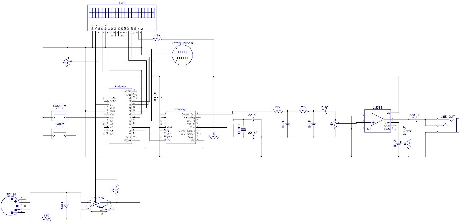 notes and volts nav 1 arduino soundgin babblebot synth part 3 speaker diagram here is the circuit schematic