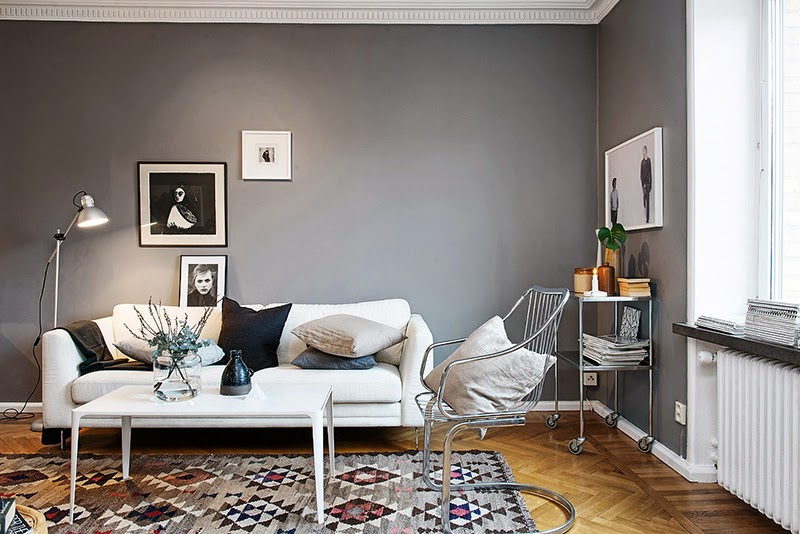 d co salon mur gris