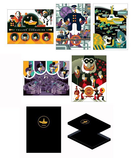 The Beatles Yellow Submarine Elite '68 Folio Screen Print Set by Tom Whalen