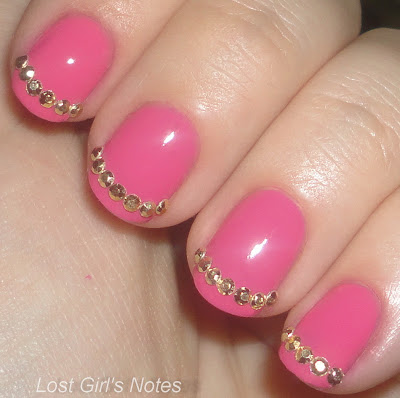 revlon passionate pink with gold stud rhinstones