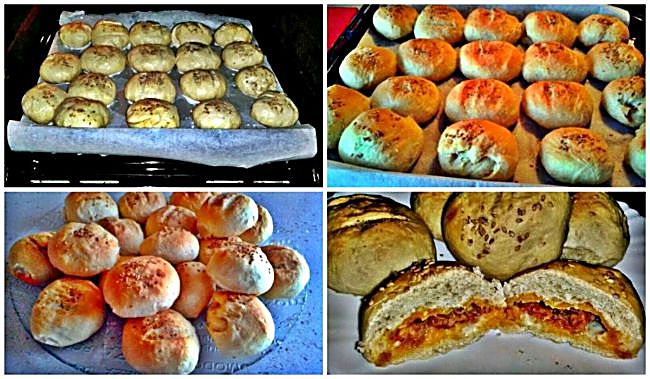 Preparación de los bollitos de pan rellenos