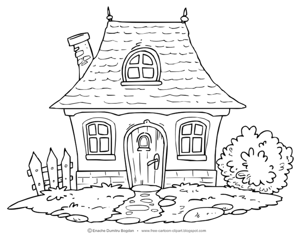 This Illustration In Color Version Visit Link Free Cartoon Clipartblogspotro 2015 06 Clipart Cottage Home Landscape