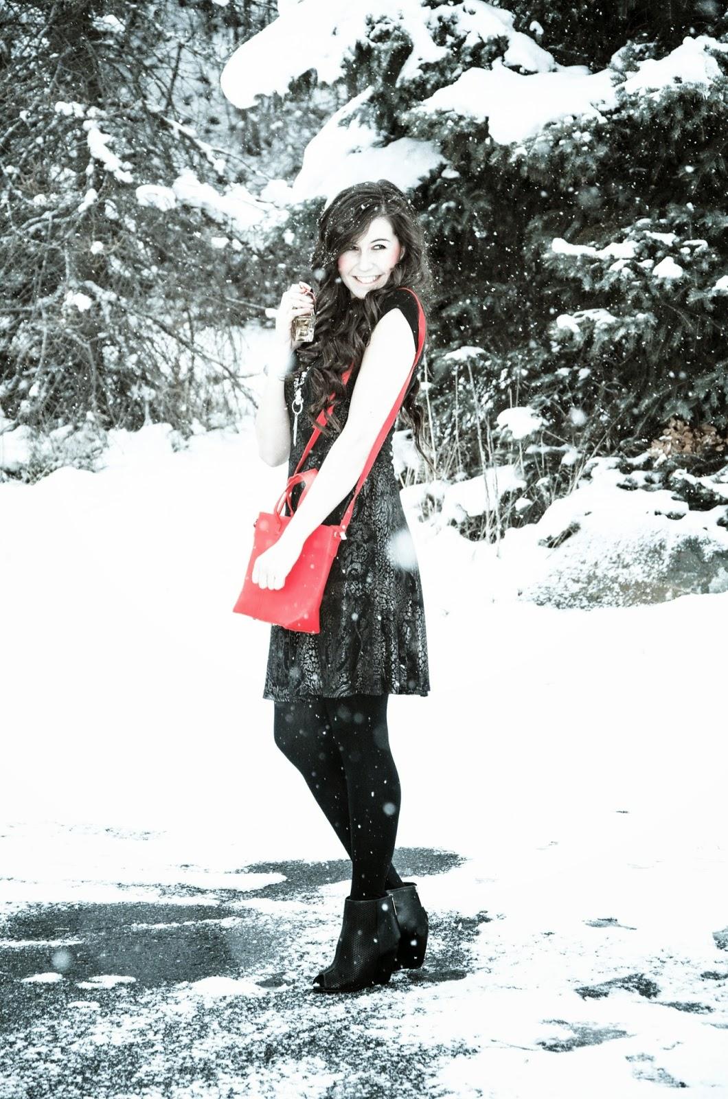 amiclubwear dress and shoes, ankle booties, booties, Christmas dress, christmas outfit, pretty girl, viva la juicy, viva la juicy perfume, red handbag, holiday dress, holiday outfit, snowy outfit post,