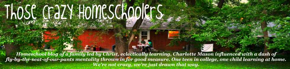 Those Crazy Homeschoolers blog. Charlotte Mason, Eclectic, fly-by-the-seat-of-our-pants learners.