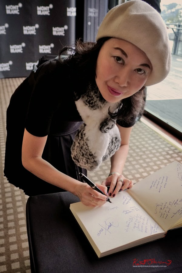 Signing the guest book with the Montblanc Meisterstück 149 Fountain Pen.