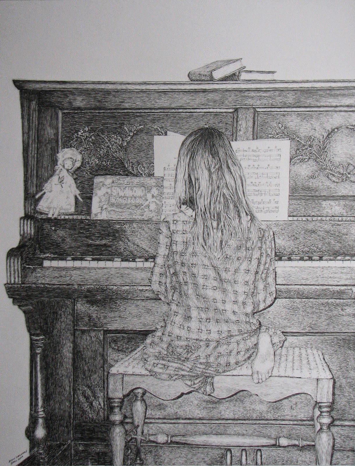 figure, drawing, piano, pencil, children, John Huisman