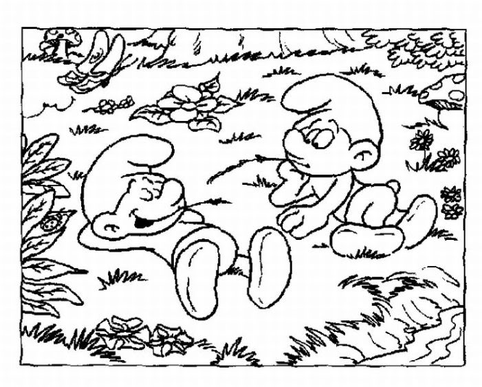 transmissionpress: Smurf and His Friend Relax Coloring Pages