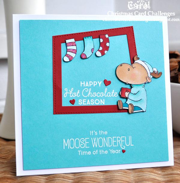 Inky Fingers My Favorite Things Moose Christmas Card