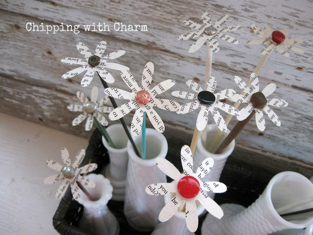 Chipping with Charm: Knitting Needle Book Page Flowers www.chippingwithcharm.blogspot.com